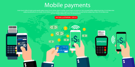 Mobile payments and near field communication. Mobile banking, modern flat design, web design. Vector Illustration