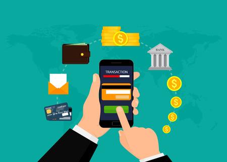 Money transaction, business, mobile banking and mobile payment. Vector illustration. Flat design. EPS10. Vektorové ilustrace