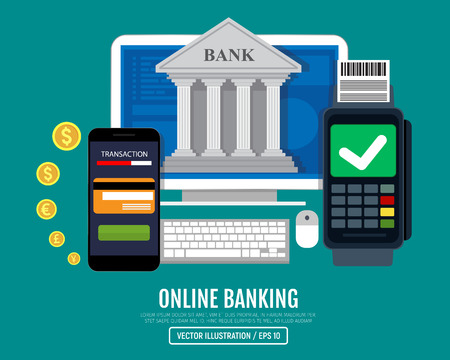 Online bank concept. Vector illustration, flat design. EPS 10.