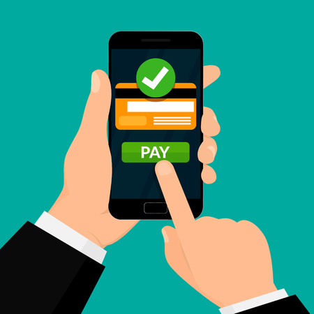 Wireless Payment Processing. Credit Card on Smartphone Screen. Money Transaction. Vector illustration on White Background.
