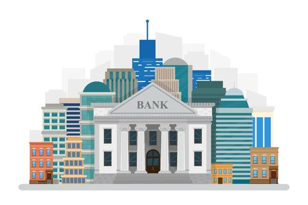 Bank building on the city landscape isolated on white background. Vector illustration Flat style.