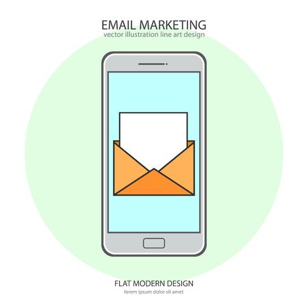 Email marketing concept. Vector illustration, flat modern design Archivio Fotografico - 132353792