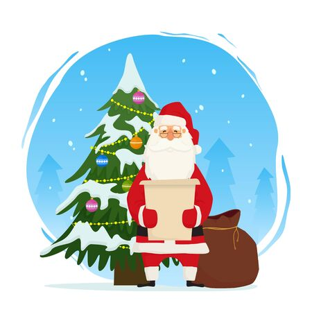 Santa Claus standing with Christmas tree and reading letter. Vector illustration on white background for holiday Xmas and New Year.
