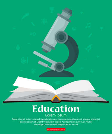 Education. Background with open book school knowledge and microscope. Vector illustration.