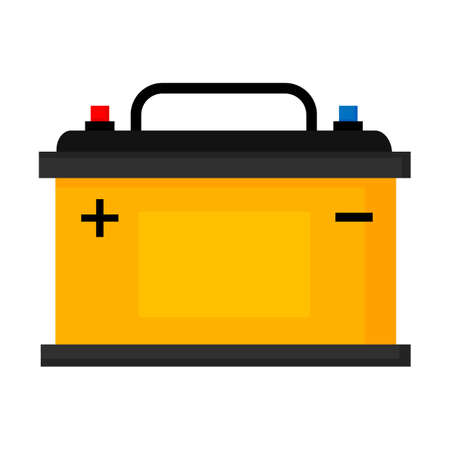 Car battery isolated on white background, vector illustration
