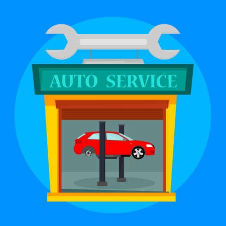 Car service in garage, car repair vector illustration, flat design