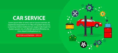 Car service and car repair, flat vector horizontal banner