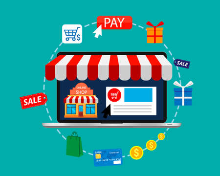 Online shopping. E-commerce pay and online shopping. Mobile shopping concept. Vector illustration.