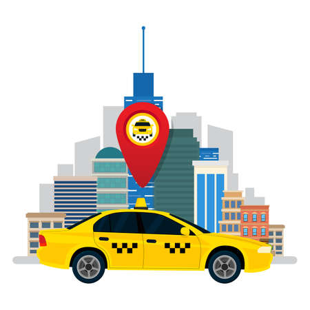 Taxi service. The car taxi on city background a red point. Vector illustration. Flat design. Vektorgrafik