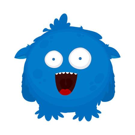 Surprised cute blue monster. Vector illustration. Flat design.