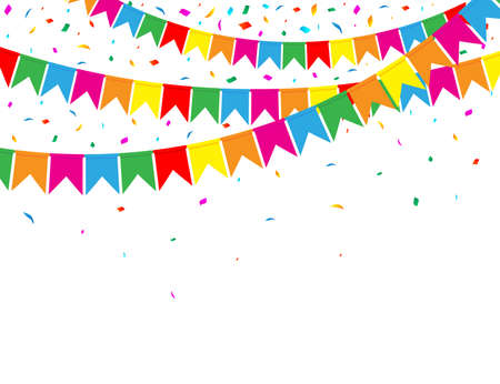 Garland of Color Flags and Confetti on White Background. Party Web Banner. Celebration Background. Vector Illustration. Flat Style. Vettoriali