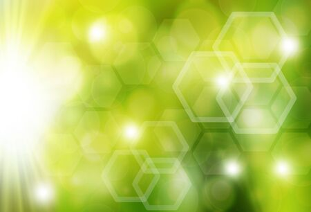 Green Colorful abstract  bokeh background with a rays
