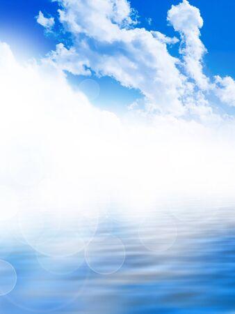blue sea background bokeh Stock Photo