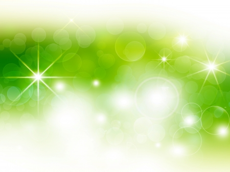 green festive bokeh background with stars