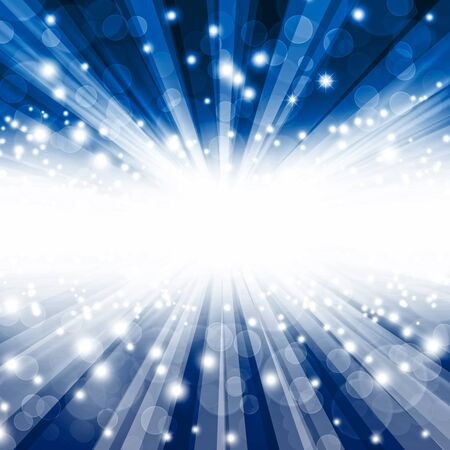 lighting effects: beautiful blue bokeh background with rays Stock Photo