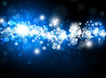 glowing star: blue bokeh abstract bright background Stock Photo