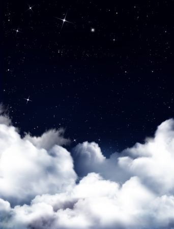 Nightly sky with stars and white fluffy clouds
