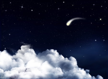 Night sky with falling comet