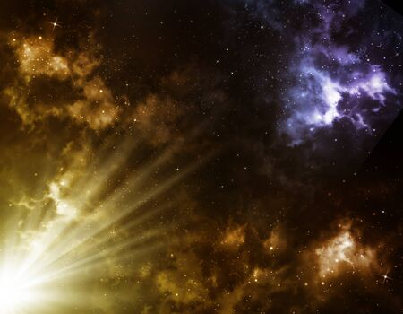 awe: sunrise in space, an abstract background of the star sky  Stock Photo