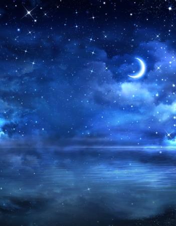beautiful night sky in the open sea  Stock Photo