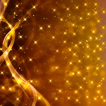 Glittery golden festive background with stars and waves