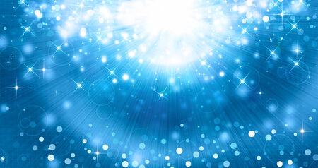 beautiful blue festive background with rays and stars Stock Photo