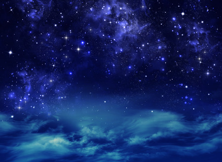 night and day: starry night sky deep outer space Stock Photo