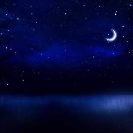 starlit sky: night sky in the open sea Stock Photo