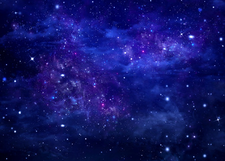 open space: blue background starry sky in the open space Stock Photo