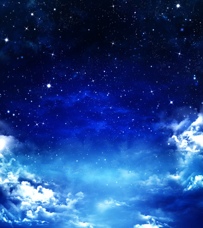year s: nightly sky, abstract blue background