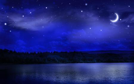 noche y luna: Noche cielo estrellado sobre el bosque y el río