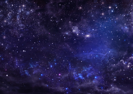 blue sky and fields: starry night sky deep outer space Stock Photo