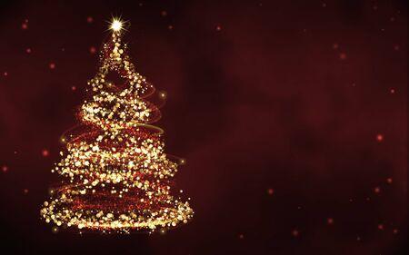 gold tree: elegant red christmas background