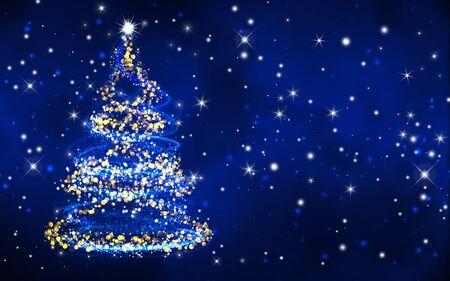blue grunge background: christmas tree