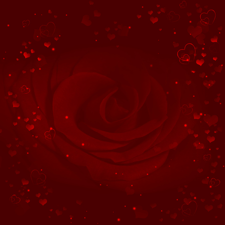 hearts background: elegant valentines background with hearts and red rose