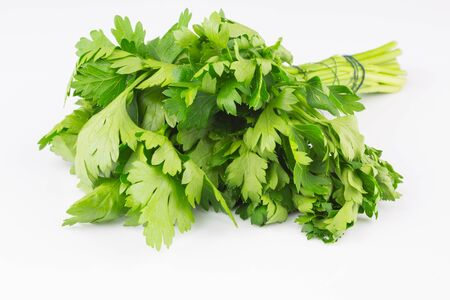 perejil: Fresh parsley on white background Foto de archivo