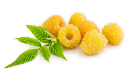 deliciously: Yellow raspberries isolated on the white background