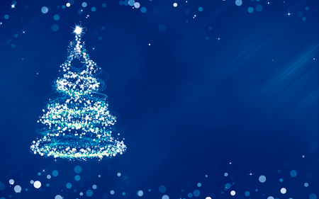 christmas blue: Christmas  blue background bokeh with Christmas tree Stock Photo