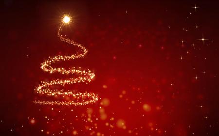 elegant background: elegant red christmas background with christmas tree