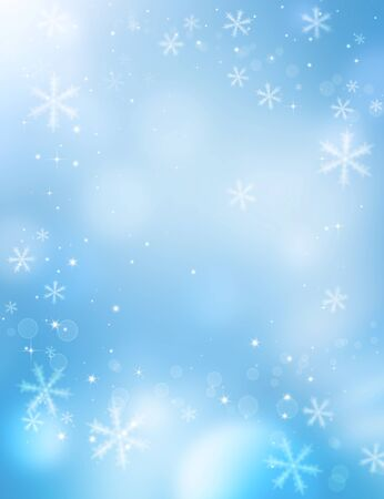 fantasy background: Christmas fantasy, winter background with snowflakes and stars Stock Photo