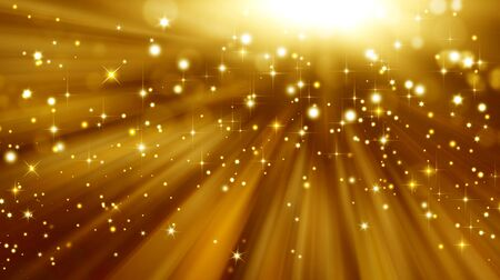 excitement: Glittery golden festive background with stars