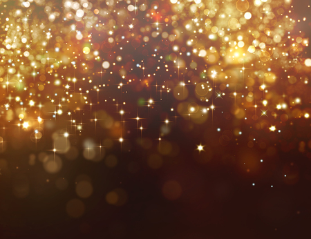 Golden glitter background with stars Foto de archivo - 112324973