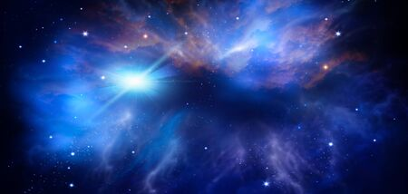deep space, abstract blue background