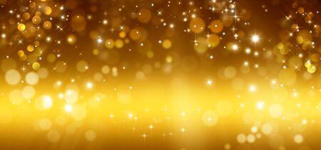 Golden glitter bokeh background with stars