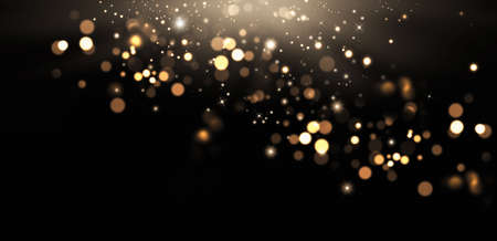 Golden abstract bokeh and stars on black background. Holiday concept, banner