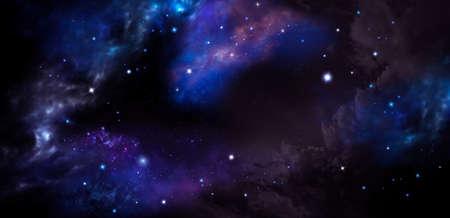 Fantasy deep space, nebula and stars in night sky banner Фото со стока