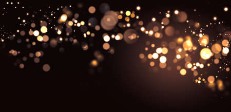 Abstract defocused golden bokeh sparkle glitter lights background. Merry Christmas and happy New Year greeting card.