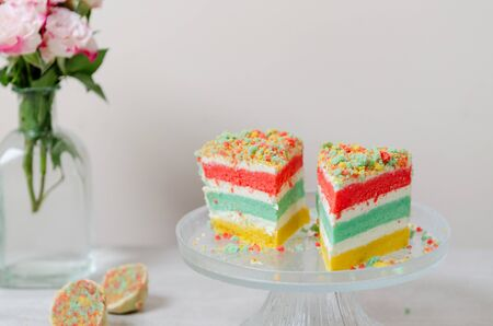 Swell Rainbow Birthday Cake With Layer Colorful On A Cake Stand Stock Funny Birthday Cards Online Alyptdamsfinfo