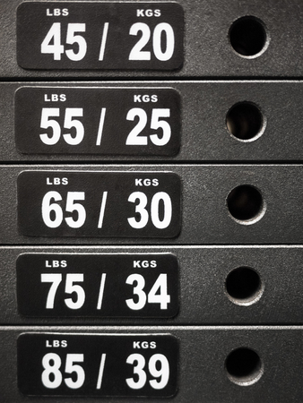 Stack of weight plates on healthclub workout gym equipment