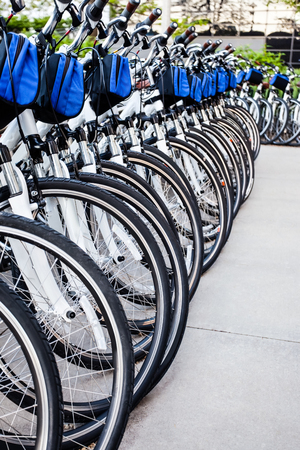 rentals: Bike rentals in a row at an outdoor bicycle rental business
